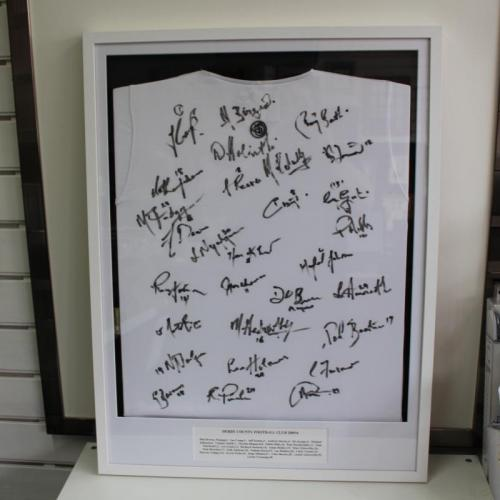 Signed Derby County shirt in a box frame